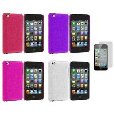 Color Bling Glitter Hard Cover Case+3X LCD Protector for iPod Touch 4th Gen 4G