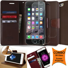 Dual Leather Wallet Flip Book cover Card holder Pouch Case for iPhone Galaxy LG
