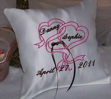 Personalized White Wedding Ring Bearer Pillow w Embroidered Ribbon Hearts