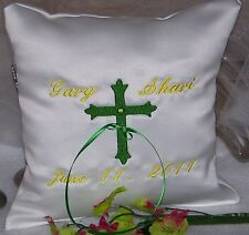 Personalized White Wedding Ring Bearer Pillow w Embroidered Holy Cross Ring Boy