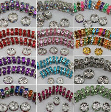 100Pcs Alloy Silver Plated Crystal Rhinestone Loose Spacer Beads 8MM 12Colors