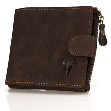 Genuine Real Leather Men's Bifold Buckle Zip Wallet Coin Purse Short Card Holder