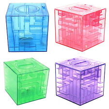 Plastic Cubic Money Maze Bank Saving Coin Collection Case Box 3D Puzzle HY