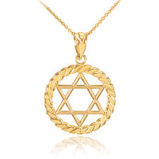 Gold Jewish Star of David in Circle Rope Pendant Necklace