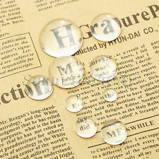 Clear Transparent Glass Cabochon Dome Flatback Crystal Magnify Base Cover 8-25mm