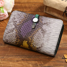 Top Genuine Leather Women's Corco Snake Long Wallet Buckle Card Holder Billfold