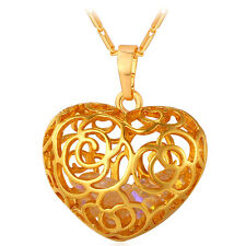 18K Gold/Platinum Plated Heart Shaped Hollow Pendant Necklaces Women Jewelry