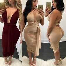 Sexy Cross Open Back Plunge V Neck Bodycon Rushed Pencil Midi Sheath Club Dress