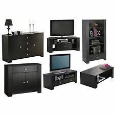 Black TV Stand Corner Large Sideboard Coffee Table Bookcase Black Ash Furniture