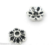 Gift Wholesale Silver Tone Flower Bead Caps 6x2.8mm Findings