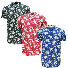 Soulstar Tiki 6 Mens Floral Print Shirt Cotton Turned Up Sleeves Button Up Top