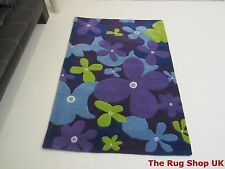 Modern blue green violet Extra Dense floral high quality thick 100% wool rug