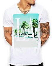 LA Beach V Neck T Shirt Men Deep Muscle Fitted Towie Shore Tshirt Tee Top Mens