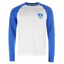 Portsmouth Pompey Raglan Long Sleeved T-Shirt Mens Blue/White Football Soccer