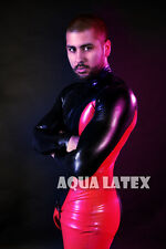 Tight Sexy Latex Catsuit Rubber Catsuit with Removable Codpiece V Shape Codpiece