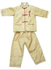 Chinese Boy's Kung Fu Shirt Pants Suit Yellow Sz: 2 4 6 8 10 12 12 16