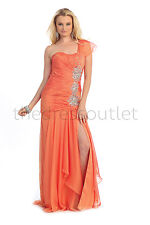 Long One Shoulder Chiffon Orange Prom Homecoming Formal Dress Sale