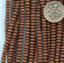"AFGHANISTAN BROWN STONE small  Saucer Rondelles ~3x4mm 14"" strand Matte Finish"