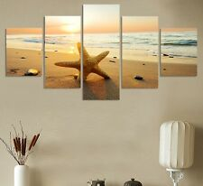 Large Framed sea ocean sunset beach Canvas Wall art decor picture relax photo