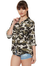 Womens Camouflage Shirt Print Short Sleeve Collar Button Pocket Ladies Top 8-14