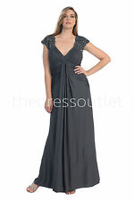 TheDressOutlet Sleeve Chiffon Charcoal Long Modest Plus Size MOB Dress Sale