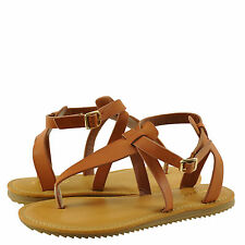 Women's Shoes Bamboo Hearten 41S Strappy T-Strap Lug Sole Sandal Chestnut *New*