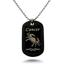 CANCER Zodiac Sign Aluminum Dog Tag Necklace 24 Inches Made in USA