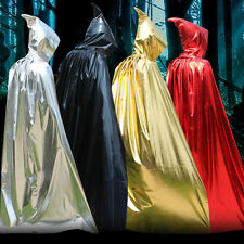 Hooded Long Cloak Cape Medieval Halloween Robe Costume Wedding Party Witch