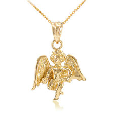 Solid Gold Guardian Angel Charm Pendant Necklace