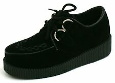 Womens Black Flat Platform Wedge Lace Up Creepers Chunky Punk Goth Shoes Size