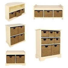 Storage Chest Cream Seagrass Basket Hallway Storage Units Corner TV Stand