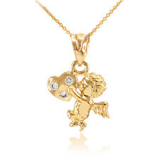 14k Gold CZ Studded Angel Cherub Kissing Heart Charm Pendant Necklace
