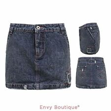 New Womens Ladies Denim Blue Summer Mini Skirt Short Jeans