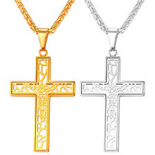 316L Stainless Steel Hollow Cross Pendant Necklace 18K Gold Plated Men Jewelry