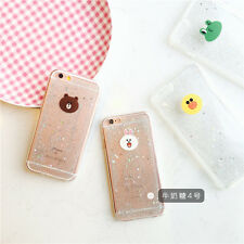 Cartoon cute Bear frog clear Glitter soft Bling case cover for iphone 6 6S plus