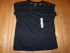 NWT Womens GRACE ELEMENTS SHIRT SHORT SLEEVE BLACK BEADED LACE TOP SIZE SMALL S