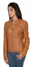 Womens Brown Brown Leather Mandarin Collar Scuba Jacket W Quilted Shoulder