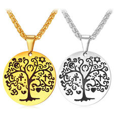316L Stainless Steel Round Pendant Tree of Life Necklace 18K Gold Plated Jewelry