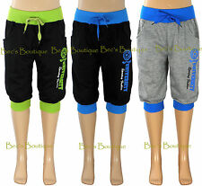 Girls Cropped Jogging Pants Sports Trousers Knee Length Kids Clothes Ages 4-14Yr