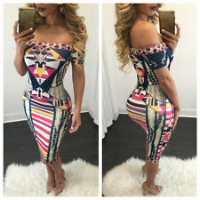 New Women Summer Fashion Print Bodycon Off Shoulder Sexy Club Party Mini Dress