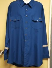 Workrite FRC NOMEX IIIA  Royal Blue Shirts With Snaps & Reflective Safety Stripe