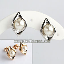 B1-E825 Fashion White Pearl Stud Earrings 18KGP