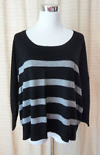 MINK PINK Black White Cotton Blend Striped 3/4 Sleeve Sweater Sz XS