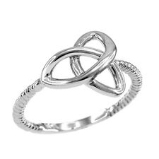 White Gold Ladies Woman`s Celtic Irish Trinity Triquetra knot Rope Ring
