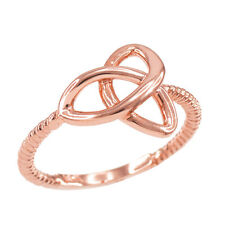 14k Rose Gold Ladies Woman`s Celtic Irish Trinity Triquetra knot Rope Ring