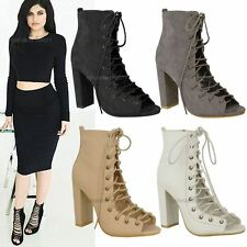 Womens Ladies Lace Up Celeb Block High Heels Caged Sandals Strappy Boots Size