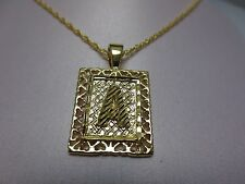 """14KT GOLD EP 1 INCH FRAMED LETTER LARGE SQUARE INITIAL CHARM WITH 24"""" ROPE CHAIN"""