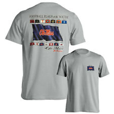 Mississippi Ole Miss Rebels SEC Football Flags Grey Adult T-Shirt Multiple Sizes
