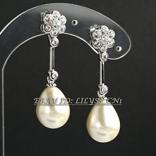 Rhinestone Flower Pearl Drop Dangle Earrings Crystal 18KGP