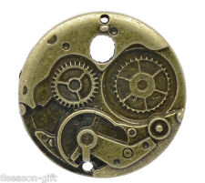 Gift Wholesale Charm Pendants Round Mechanical Gear Clock Bronze Tone 38mm Dia